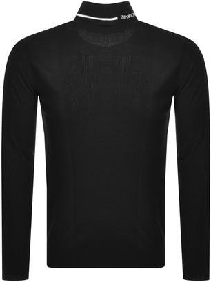 Giorgio Armani Emporio Arman Roll Neck Wool Knit Jumper Black