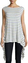 Max Studio Linen-Blend Striped Knit Tunic, Natural/Pacific