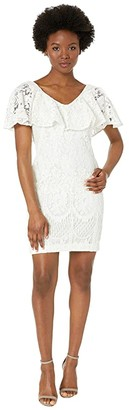 Lauren Ralph Lauren Petite 177A Lore Floral Lace Tamalira Sleeveless Day Dress (Lauren White) Women's Clothing
