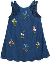 Mayoral Denim Floral-Embroidered Dress, Size 3-7