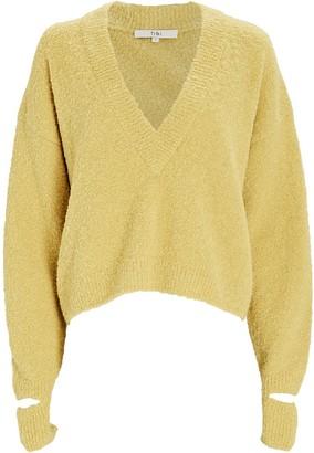 Tibi Boucle Alpaca Cropped Sweater