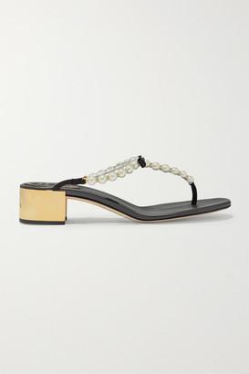 Rene Caovilla Eliza Embellished Leather Sandals - Black