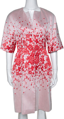 Giambattista Valli Red Floral Jacquard Caban Coat XS