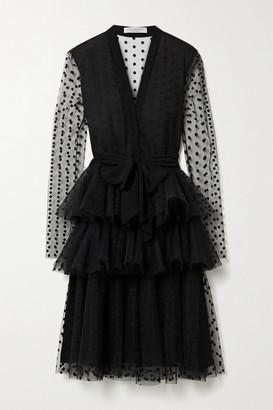 Philosophy di Lorenzo Serafini Tiered Embroidered Tulle Dress - Black