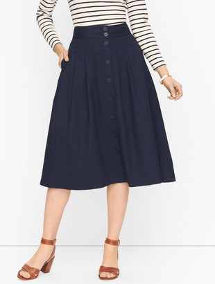 Talbots Button Front Poplin Skirt