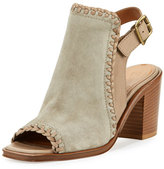 Frye Charlize Whipstitched Suede Block-Heel Sandal, Gray