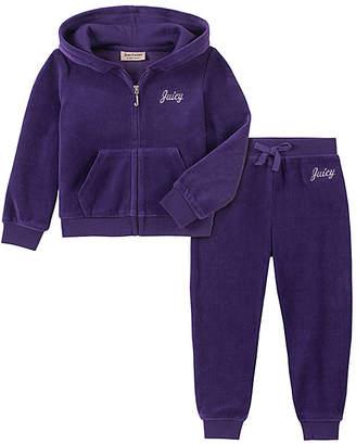 Juicy Couture Girls' Casual Pants 2002 - Purple Logo Velour Hoodie & Sweatpants - Toddler & Girls