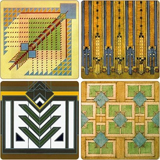 "CoasterStone Absorbent Coasters 4-1/4-Inch ""Frank Lloyd Wright Rug Designs"" Set of 4"