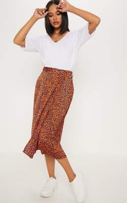 PrettyLittleThing Navy Leopard Print Wrap Midi Skirt