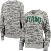 Unbranded Women's Pressbox Camo Miami Hurricanes Gulfport Applique French Terry Crew Neck Sweatshirt