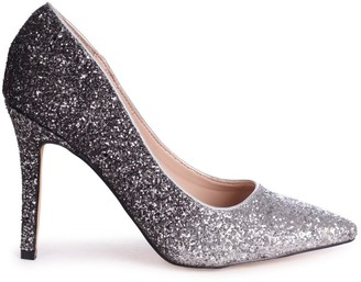 Linzi DYNAMIC - Silver and Black Glitter Ombre Stiletto Pointed Court Heel