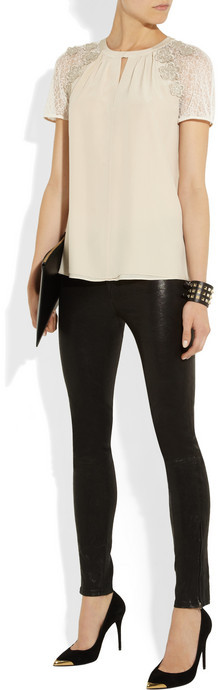 ALICE by Temperley Kimi tulle-trimmed silk blouse