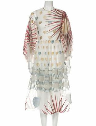 Sandra Mansour Printed Midi Length Dress White