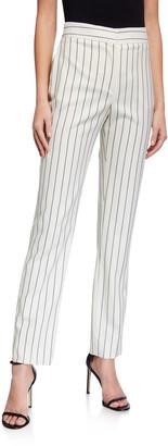 Oscar de la Renta Pinstriped Stretch Wool Straight-Leg Pants