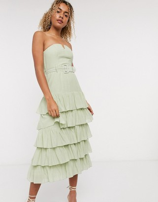 And other stories & layered belted strapless dress in green