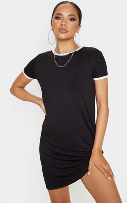 PrettyLittleThing Black Contrast Trim Jersey T Shirt Dress