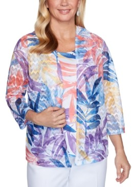Alfred Dunner Printed Embellished Layered-Look Top