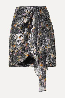 Isabel Marant Ixora Draped Silk And Lurex-blend Jacquard Mini Skirt - Black
