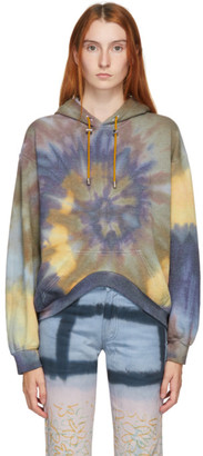 Collina Strada Blue and Green Tie-Dye Round Hem Hoodie