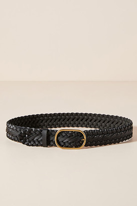 Anthropologie Braided Leather Belt By in Black Size S