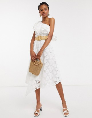 And other stories & embroidered floral one shoulder ruffle dress in off white