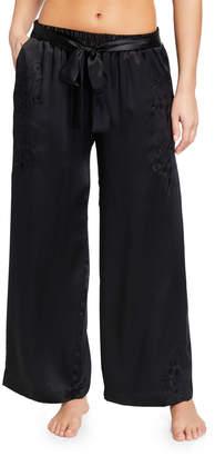 Gold Hawk Sophia Embroidered Satin Lounge Pants