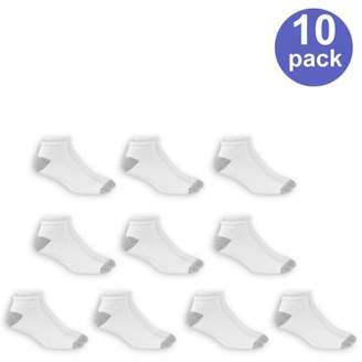 Athletic Works Men's Low Cut Socks, 10 Pack, White, Size 6-12