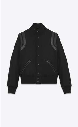 Saint Laurent Varsity Jacket In Black Wool