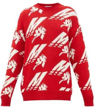 MSGM Crew-neck Logo-intarsia Wool-blend Sweater - Womens - Red White