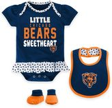 NFL Chicago Bears 3-Piece Girl Creeper, Bib, and Bootie Set