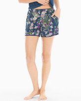 Soma Intimates Satin Trim Pajama Shorts Fine Foliage Ink