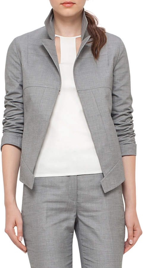 Akris Structured Long-Sleeve Jacket, Silver Charm