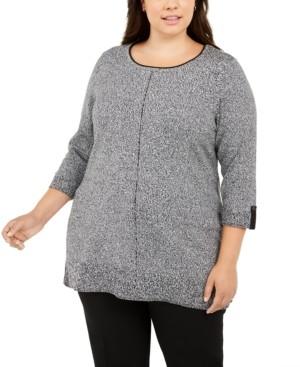 Karen Scott Contrast-Trim Marled Cotton Sweater, Created for Macy's