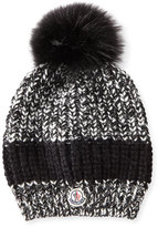 Moncler Cable-Knit Hat w/Fur Pompom, Black