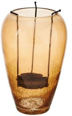 "Element 9"" amber half crackle hurricane with candle holder"