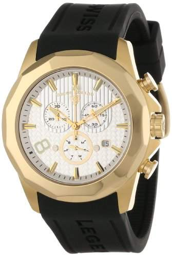 Swiss Legend Men's 10042-YG-02S Monte Carlo Chronograph Textured Dial Black Silicone Watch