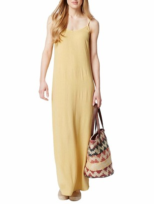 White Label Ex Marks & Spencer Plain Crinkle Effect Strappy Maxi Dress in Khaki Ochre Ochre Size 12