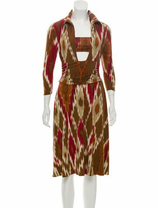 Balmain Printed Midi Dress Brown