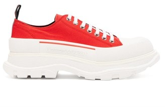Alexander McQueen Tread-sole Low-top Canvas Trainers - Mens - Red