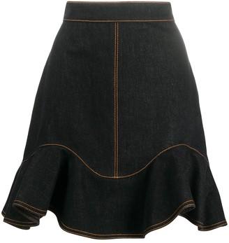 Alexander McQueen Ruffled Hem Denim Skirt