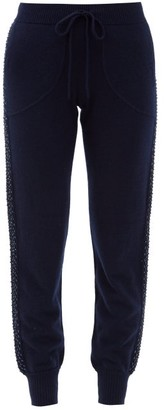Bella Freud Sequinned Wool-blend Jersey Track Pants - Navy