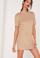 Missguided Perforated Faux Suede Shift Dress Nude