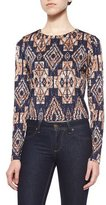 T-Bags LosAngeles T Bags Long-Sleeve Tribal-Print Top, Navy/Multi Colors