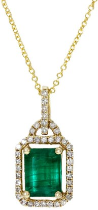 Effy 14K Yellow Gold, Emerald Diamond Pendant Necklace