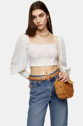 Topshop White Lace Balloon Sleeve Top