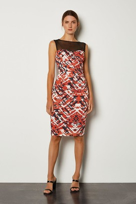 Karen Millen Sheer Yoke Printed Bodycon Dress