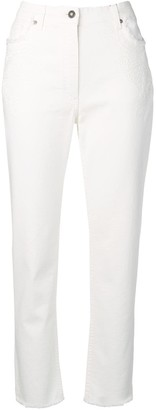 Etro embroidered cropped jeans