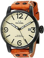 TW Steel Men's 'Maverick' Quartz Stainless and Leather Casual Watch, Color:Brown (Model: MS41)