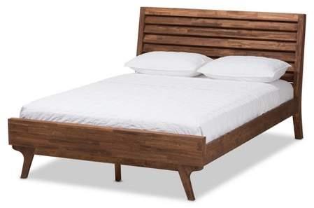 Baxton Studio Queen Sierra Midcentury Modern Wood Platform Bed Brown