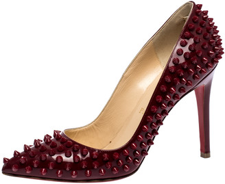 Christian Louboutin Red Patent Leather Follies Spikes Pointed Toe Pumps Size 38